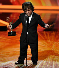 Actor Peter Dinklage winning at  63rd Emmy Awards